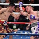 Great rivals: Carl Frampton and Leo Santa Cruz slug it out
