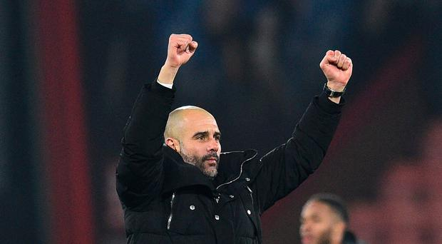 Red hot: Pep Guardiola was happy with City's performance