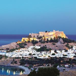 Age and beauty: Historic Lindos at night.