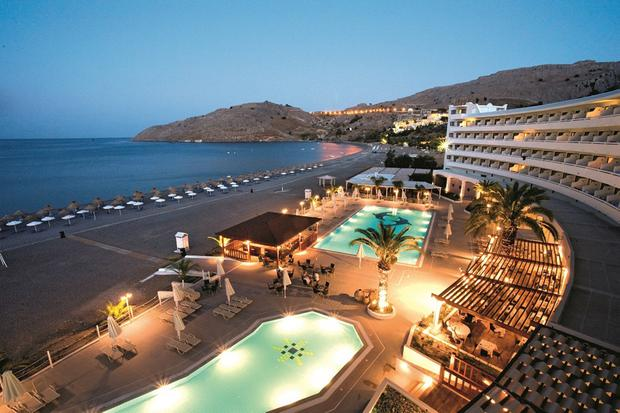 Dodecanese decadence: The Sensimar Lindos Bay Hotel at night.