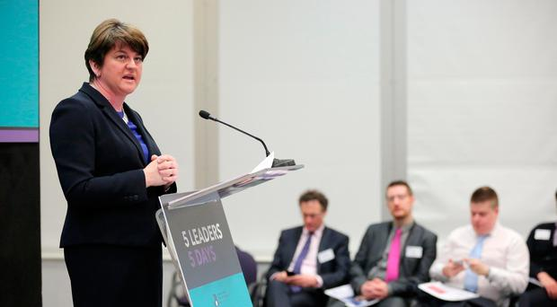 DUP Leader Arlene Foster, speaking at the Northern Ireland Chamber's 5 Leaders; 5 Days series. Pic Kelvin Boyes/Press Eye/PA Wire