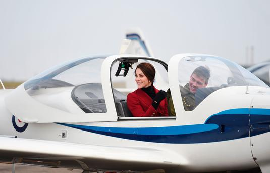 The Duchess Of Cambridge in a training aircraft