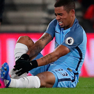 Unlucky break: Gabriel Jesus is injured against Bournemouth