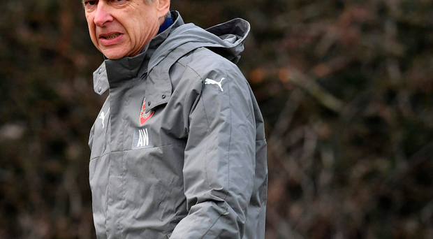Euro mission: Arsene Wenger at Arsenal's training session yesterday