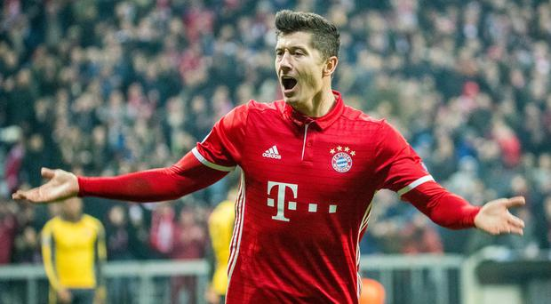 Bayern Munich's Robert Lewandowski is a major doubt for his side's Champions League quarter-final first leg clash with Real Madrid. Photo: Marc Mueller/Bongarts/Getty Images