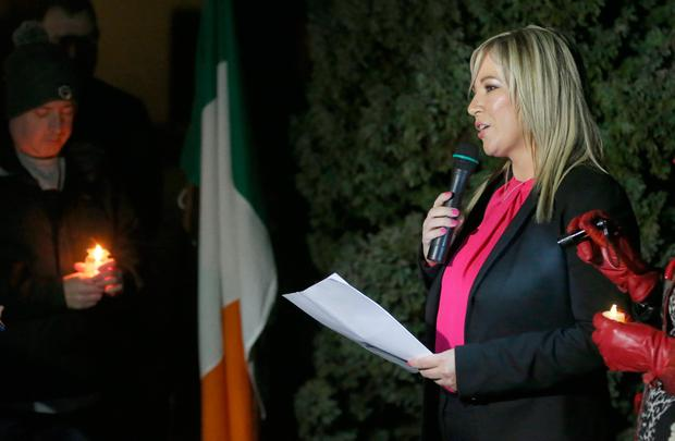 Sinn Fein's new leader at Stormont Michelle O'Neill addresses a commemoration in Clonoe, Co Tyrone in memory of IRA men, Patrick Vincent, Sean O'Farrell, Peter Clancy and Barry O'Donnell, who were killed by the SAS in February 1992. PA