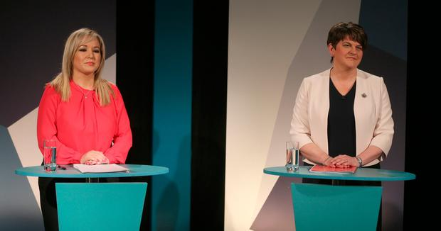 Sinn Fein's Michelle O'Neill and DUP Leader Arlene Foster at UTV Studios at Havelock House in Belfast for the Northern Ireland Assembly Debate. PA
