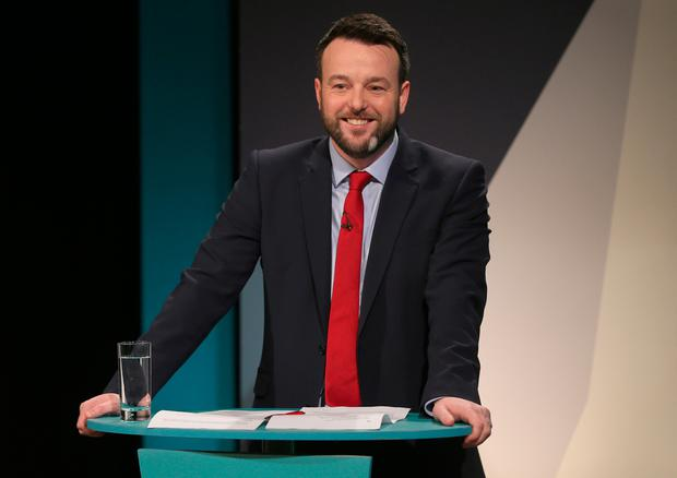 SDLP Leader Colum Eastwood at UTV Studios at Havelock House in Belfast for the Northern Ireland Assembly Debate. PA