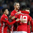 Manchester United's Zlatan Ibrahimovic celebrates scoring his sides second goal during the UEFA Europa League Round of 32, First Leg match at Old Trafford, Manchester. PA
