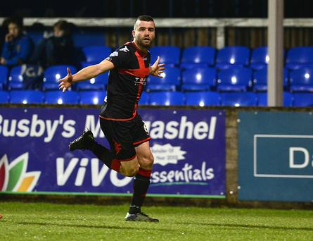Dungannon v Crusaders Danske Bank Premiership. Crusaders Colin Coates pictured after scoring his teams 2nd goal during this evenings game at Stangmore Park. Picture By: Arthur Allison/Pacemaker Press