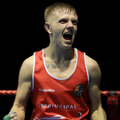 Celebrate: Kurt Walker of Lisburn club Canal after winning the bantamweight title last night
