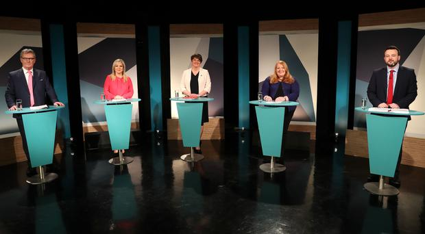 Party leaders (from left) Mike Nesbitt, Michelle O'Neill, Arlene Foster, Naomi Long and Colum Eastwood during Thursday's UTV debate