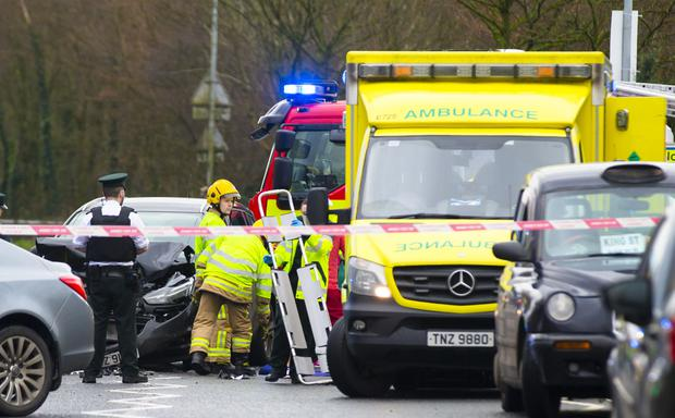 Emergency services at the scene of a crash in near the Bell Steel Road in Belfast (Photo - Kevin Scott / Belfast Telegraph)