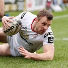 Ulster's Tommy Bowe goes over in the corner for a try during the Guinness Pro12 match against Glasgow Warriors at Kingspan Stadium, Belfast. Picture by Darren Kidd / Press Eye.