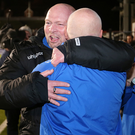 Champions: David Jeffrey celebrates the Cup win with assistant boss Bryan McLoughlin