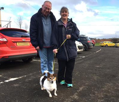 Rusty with new owners Mal and Sarene