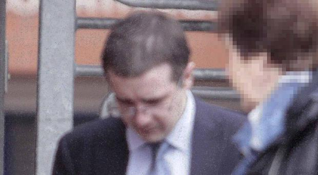 Ballymoney man leaves Jonathan McClure Coleraine court after pleading guilty to harassment of two women.