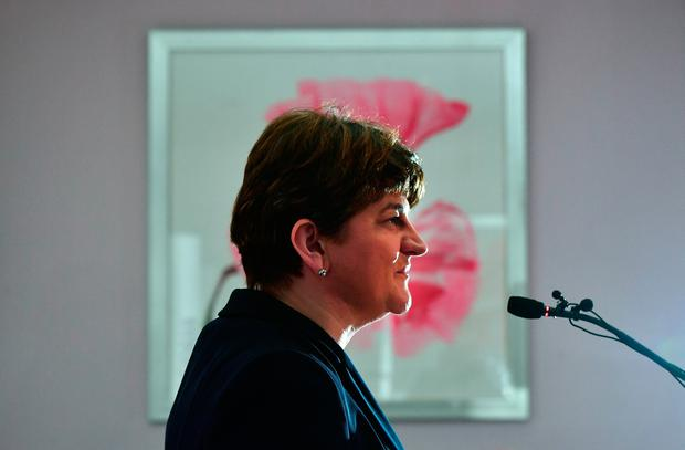 DUP leader and former First Minister Arlene Foster launches the Democratic Unionist Party's manifesto at the Stormont hotel on February 20, 2017 in Belfast, Northern Ireland. (Photo by Charles McQuillan/Getty Images)