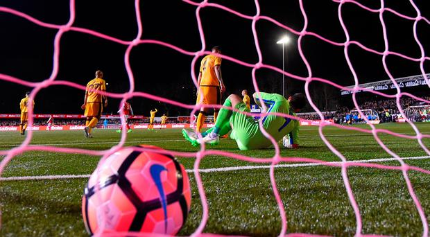 Ross Worner of Sutton United reacts after Lucas (not pictured) of Arsenal scores the opening goal during the Emirates FA Cup fifth round match between Sutton United and Arsenal on February 20, 2017 in Sutton, Greater London. (Photo by Mike Hewitt/Getty Images)