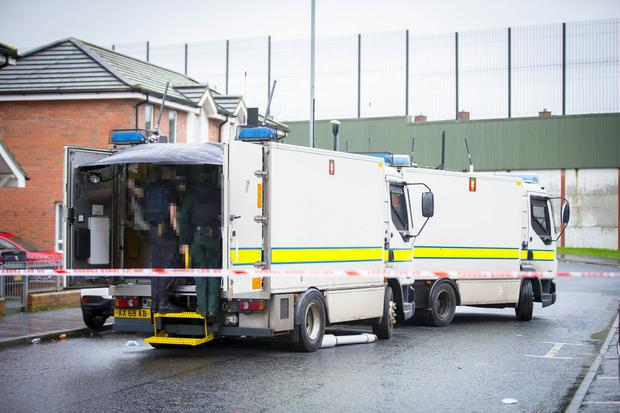 Police and ATO at the scene of a security alert in the Conway Street area of West Belfast on 21st February 2017 . (Photo - Kevin Scott / Belfast Telegraph)