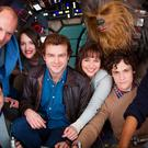 From left to right: Director Christopher Miller, Woody Harrelson, Phoebe Waller-Bridge, Alden Ehrenreich, Emilia Clarke, Joonas Suotamo as Chewbacca, director Phil Lord and Donald Glover, on the set of the new Han Solo Star Wars spin-off as filming kicked off at London's Pinewood Studios. PA