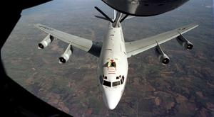 US 'nuclear sniffer': The WC-135W Constant Phoenix aircraft collects particulate and gaseous debris from the accessible regions of the atmosphere (U.S. Air Force file photo)