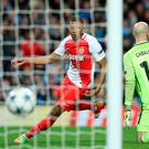 Monaco's Kylian Mbappe-Lottin scores his side second goal during the UEFA Champions League match at the Etihad Stadium, Manchester. PA