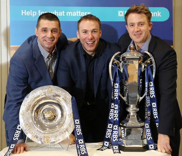 Looking ahead: (from left) Alan Quinlan, Ulster legend Stephen Ferris and Luke Fitzgerald during the Ulster Bank-hosted RBS 6 Nations Trophy Tour at CIYMS Rugby Club in Belfast