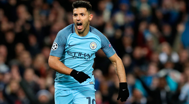 Incredible: Sergio Aguero reacts after his first goal of a madcap night at The Etihad