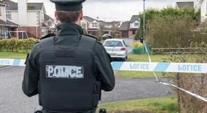 The scene at Ardanlee in the Culmore area of Derry where the discovery of a suspicious object was at the centre of a security alert. Several homes in the area were evacuated. Picture Martin McKeown. Inpresspics.com. 22.02.17