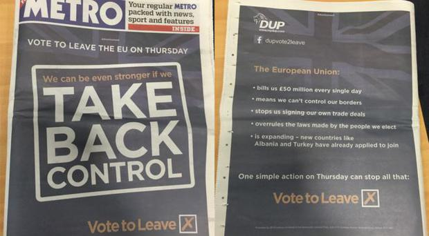 A DUP advertisement that appeared in The Metro
