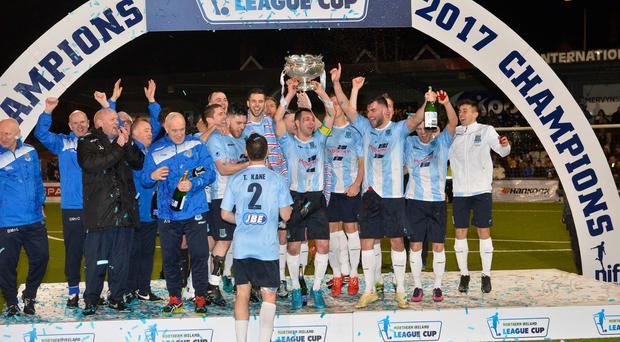 Sky blues: Ballymena United and the man who manages them, who goes by the name of David Jefferies...