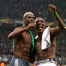 Brothers in arms: Paul Pogba of Manchester United swaps shirts with his sibling Florentin Pogba of Saint-Etienne after last night's match