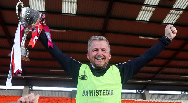 So special: Slaughtneil manager Mickey McShane after Ulster success at the Athletic Grounds. Photo: John McIlwaine/Presseye