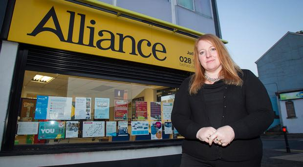 Leading way: Naomi Long outside her constituency office on the Upper Newtownards Road in east Belfast