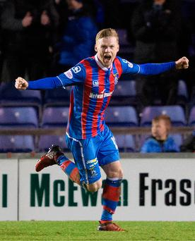 Inverness Billy McKay celebrates scoring his side's second goal of the game during the Scottish Premiership match at Tulloch Caledonian Stadium, Inverness. PRESS ASSOCIATION Photo.