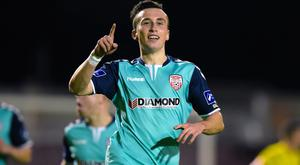 Bohemians vs Derry City. Derry's Aaron McEneff celebrates scoring a penalty ©INPHO/Tom Beary