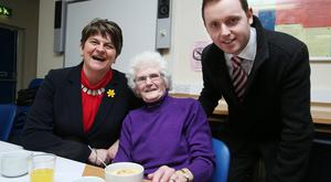 DUP leader Arlene Foster and candidate Gary Middleton meet Jean Ferguson at the luncheon club in Newbuildings Community Centre