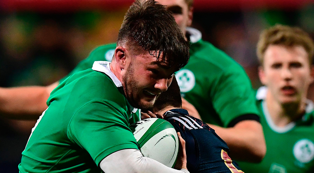 Ireland's fly-half Bill Johnston vies with France's scrum-half Arthur Retière during their Under-20 Six Nations match. Photo: Fife Franck/Getty Images