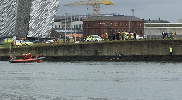 The rescue as it unfolded at Belfast Lough on Saturday