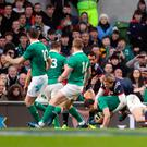 Ireland's Conor Murray scores his side's first try during the RBS 6 Nations match at the Aviva Stadium, Dublin on Saturday February 25, 2017. Niall Carson/PA Wire