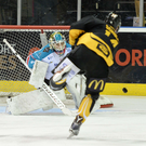 Standing tall: Belfast Giants goaltender Stephen Murphy comes under pressure last night