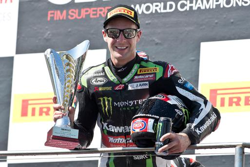 Double winner: Jonathan Rea won twice as he began the defence of his Superbike title