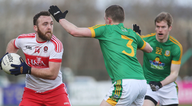 Get in: Emmett McGuckin netted to give Derry a vital victory