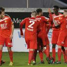 Crucial strike: Portadown's Marcio Soares celebrates his goal with his team-mates at Shamrock Park