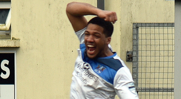 High flyer: Ards' Guillaume Keke celebrates his first goal