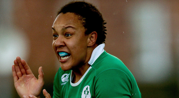 Job done: Sophie Spence celebrates at the final whistle