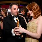 Spencer Stone (L) and actress Emma Stone attend the 89th Annual Academy Awards Governors Ball at Hollywood & Highland Center on February 26, 2017 in Hollywood, California. (Photo by Kevork Djansezian/Getty Images)