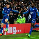 Leicester City's Jamie Vardy celebrates scoring his sides third goal goal during the Premier League match at the King Power Stadium, Leicester. PA