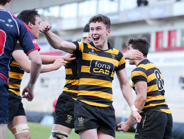 Danske Bank Schools' Cup semi-final Royal Belfast Academical Institution v Ballymena Academy at the Kingspan Stadium. RBAI's Niall Armstrong celebrates. Pic: Darren Kidd Press Eye